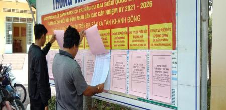 Ủy ban nhân dân xã tổ chức niêm yết danh sách cử tri bầu cử đại biểu Quốc hội và bầu cử đại biểu Hội đồng nhân dân các cấp nhiệm kỳ 2021-2026